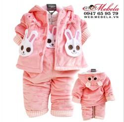 BG503 Bộ yếm nhung thỏ hồng 3 lớp cho bé 10 đến 12 cân (1, 2 tuổi) gồm quần yếm và áo khoác