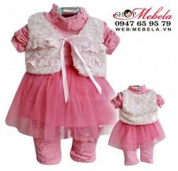 BG518 Bộ bé gái set 3 gồm áo váy, áo khoác gile, quần thun dài size 10 đến 12 kg (khoảng 1,2 tuổi)