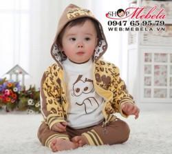 BT541 Bộ nỉ bé trai set 3 gồm áo khoác nỉ vàng in chữ 2 lớp, áo thun dài tay và quần nỉ 2 lớp 8kg