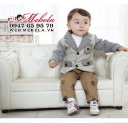 BT543 Bộ vest bé trai  màu ghi xám chất dạ mềm 2 lớpkèm quần kaki  9 đến 13 kg (9 đến 30 tháng)