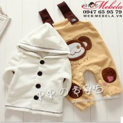 BT544 Bộ nỉ cho bé  gồm áo khoác và quần yếm hình khỉ ngộ nghĩnh 10,12,13kg ( khoảng 12 đến 30 tháng)