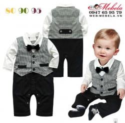 BD512 Body áo liền quần cho bé dài tay giả gile vest, nơ cổ 8,10,12kg (8 tháng đến 2 tuổi)