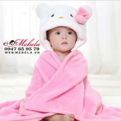 AC11 Áo choàng Kitty băng lông nhung cực  mềm, mịn và nhẹ cho bé giữ ấm khi đi chơi, làm chăn khi đi ngủ (85x77cm)