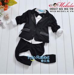 BT539 Bộ vest chú rẻ dự tiệc bé trai gồm áo sơ mi gắn nơ, áo vest, quần 11,13,15kg(khoảng 1, 2, 3 tuổi)