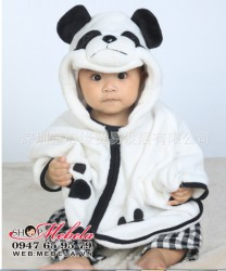 AC05 Áo choàng gấu trúc chất nhung băng lông mềm ấm cho bé 0 đến 4 tuổi