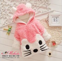 AG505 Áo lông dáng dài liền mũ hình mèo ấm mềm cho bé 11,13,15,17kg (1,2,3,4 tuổi) * không có áo len cổ lọ bên trong