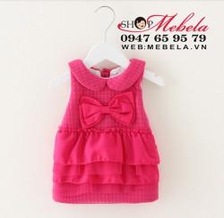 V554 Váy thu đông 2 lớp  nhiều tầng nơ bụng xinh cho bé 6,8, 10,12kg( 4 đến 24 tháng)