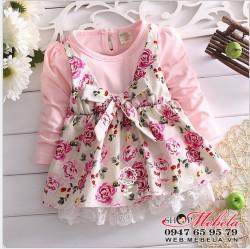 V542 Váy thu dài tay hoa hồng cho bé gái 7,9,10,12kg(6 đến 24 tháng)