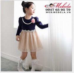 V558 Váy công chúa dài tay kèm dây chuyền cho bé gái 14,16,18, 20 ,23kg (2,5 đến 6 tuổi)