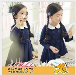V526 Váy thu dài tay phong cách nữ sinh Hàn Quốc duyên dáng cho bé 13,15,17kg (2,3,4 tuổi)