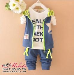 BT555 Bộ nỉ mỏng gồm 3 thứ: áo gile liền mũ, áo dài tay, quần cho bé 12,14,16,18 kg(2,3,4 tuổi)