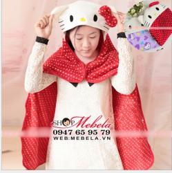 C02 Áo choàng, chăn Kitty lông  mềm, mịn và nhẹ cho bé giữ ấm khi đi chơi, làm chăn khi đi ngủ (KT: 90x72cm không kể mũ)