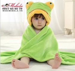 C04 Áo choàng, chăn ếch xanh băng lông nhung cực  mềm, mịn và nhẹ cho bé giữ ấm khi đi chơi, làm chăn khi đi ngủ (85x77cm)