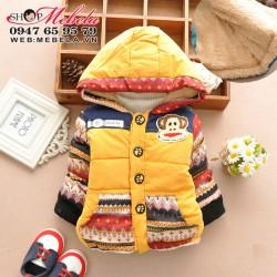 KT45 Áo khoác lót lông khỉ Paul màu vàng cực ấm 11,13,15,17kg (18 tháng đến 4 tuổi)