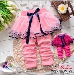 QG513 Quần liền váy ren cho bé 8 đến 13kg( 8 tháng đến2,5 tuổi)