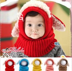 M513 Mũ len tai thỏ liền khăn cho bé, có đỏ, hồng, vàng