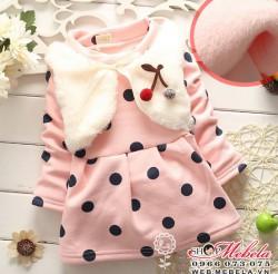 V574 Váy giả gile lông,chấm bi hồng, chất nỉ nhung dày ấm 8 đến 14kg (6 tháng đến 3tuổi)
