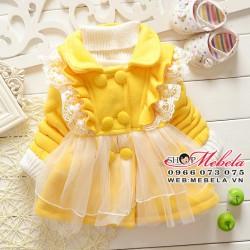 KG95 Áo khoác nỉ vàng lót lông bèo nhún dáng váy 6 đến12 kg( 3 đến24tháng)
