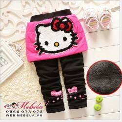 QG515 Quần liền váy Kitty chất nỉ lót lông dày ấm 2 đến 7 tuổi