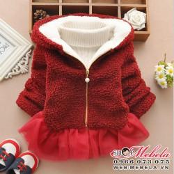 KG107 Áo khoác lông cừu đỏ đun kết hợp chân ren xòe chất dày ấm 15 đến 18kg