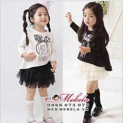 V585 Bộ váy Like A Cute Bunny, gồm áo và chân váy 18tháng đến 5 tuổi