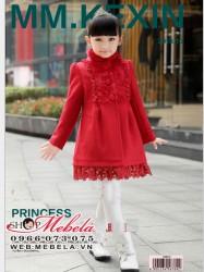 KG63 Áo khoác dạ đỏ pha lông  cho bé 4 đến 8 tuổi