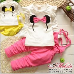 BG529 Bộ quần yếm Mickey Mini  1 đến 3 tuổi