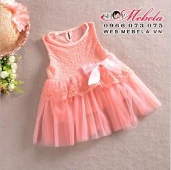 V86 Váy ren hồng công chúa cho bé khoảng 2 đến 5 tuổi