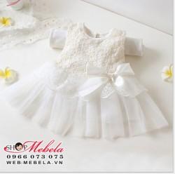 V86 Váy ren trắng công chúa cho bé khoảng 2 đến 5 tuổi