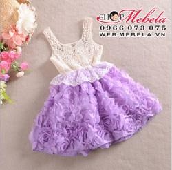 V166 Váy ren chân hoa tím xòe 4 đến 6 tuổi