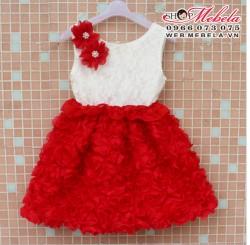 V258 Váy Váy ren hoa đỏ nổi đính hoa vai