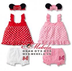BG38 Bộ Mickey chấm bi kèm băng đô xinh xắn 8 đến 12kg