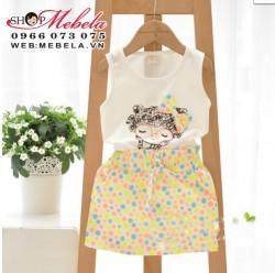 V226 Bộ váy zip chấm bi + áo 3 lỗ tóc xù
