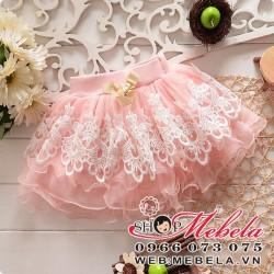 V116 Chân váy ren bồng xòe hồng 2-7tt