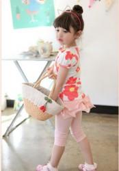 BG94 Bộ gồm áo hoa  + quần liền váy 2 - 8 tuổi