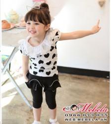 BG95 Bộ gồm áo tim +quần liền váy 2-8 tuổi