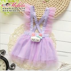 V283 -Chân váy liền yếm  gắn thỏ ngủ 1-3 tuổi