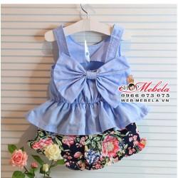 BG96 - Bộ áo nơ lưng xanh sát nách quần hoa mát 2-5 tuổi