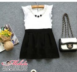 V322 Váy đen trắng liền kèm vòng cổ 2,5 - 7 tuổi