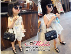 BG103 - Bộ quần áo ren lỗ trắng mát mẻ  2- 5 tuổi