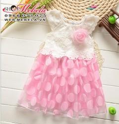 V312 Váy ren công chúa chấm bi hồng 1-3 tuổi