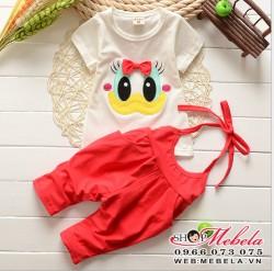 BG102 Bộ áo và quần yếm hình vịt 1-3 tuổi