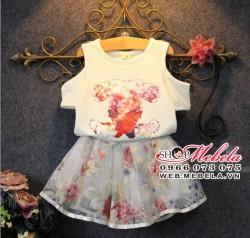 V335 Bộ váy hoa cho bé gái 2 - 7 tuổi