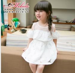 V344 Váy tiểu thư trắng cho bé gái 2,5 đến 6 tuổi