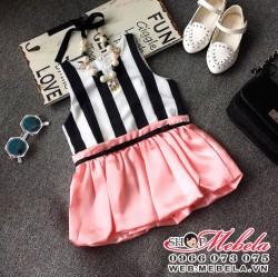 V346 Váy kẻ sọc pha hồng cho bé gái 2 - 7 tuổi