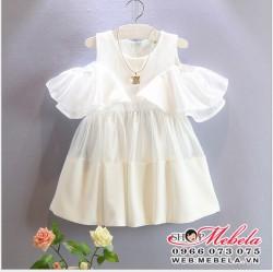 V345 Váy trắng tiểu thư cho bé 18th đến 4 tuổi