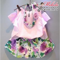 BG116 Bộ áo hở vai kèm quần hoa tím cho bé 2 đến 6 tuổi (áo ở ngoài màu hồng, ko kèm vòng cổ)