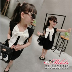 V388 Váy đen nơ trắng sành điệu cho bé gái 2 - 7 tuổi