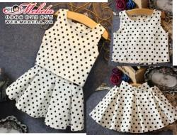 V393 Váy chấm bi đen trắng cho bé 2 - 7 tuổi