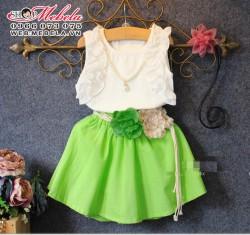 V377 Bộ váy kèm vòng cổ và day lưng hoa 2 - 7 tuổi